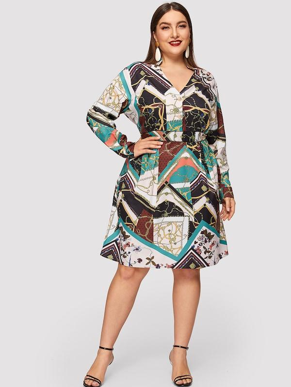 Plus Size V Neck Button Front Chain Print Shirt Dress