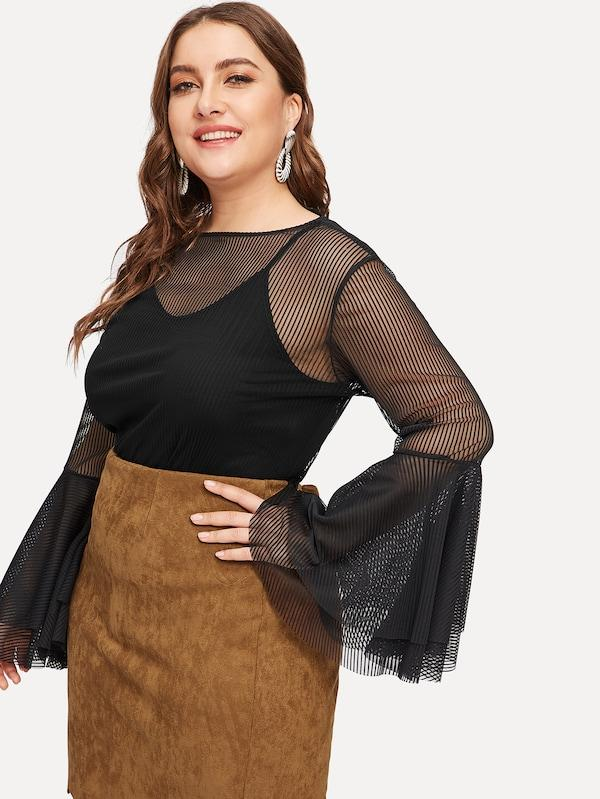 Plus Size Mesh Overlay Flounce Sleeve Blouse With Cami Top