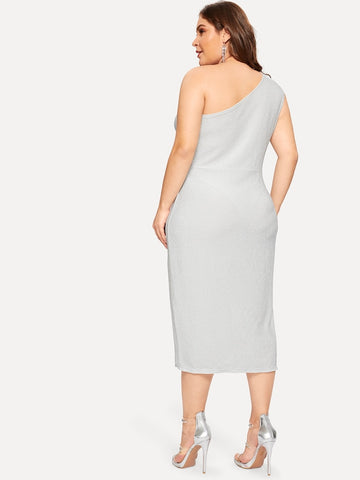 Plus Size One Shoulder Twist Split Dress