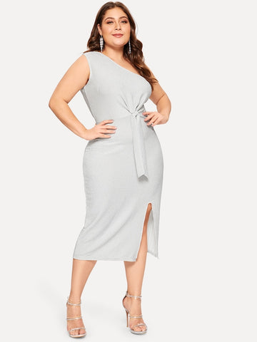 ... Plus Size One Shoulder Twist Split Dress ... 6ec8d8bc9