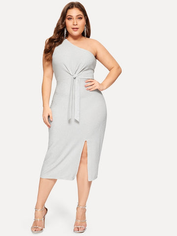Plus Size One Shoulder Twist Split Dress ... 98d6f51cf