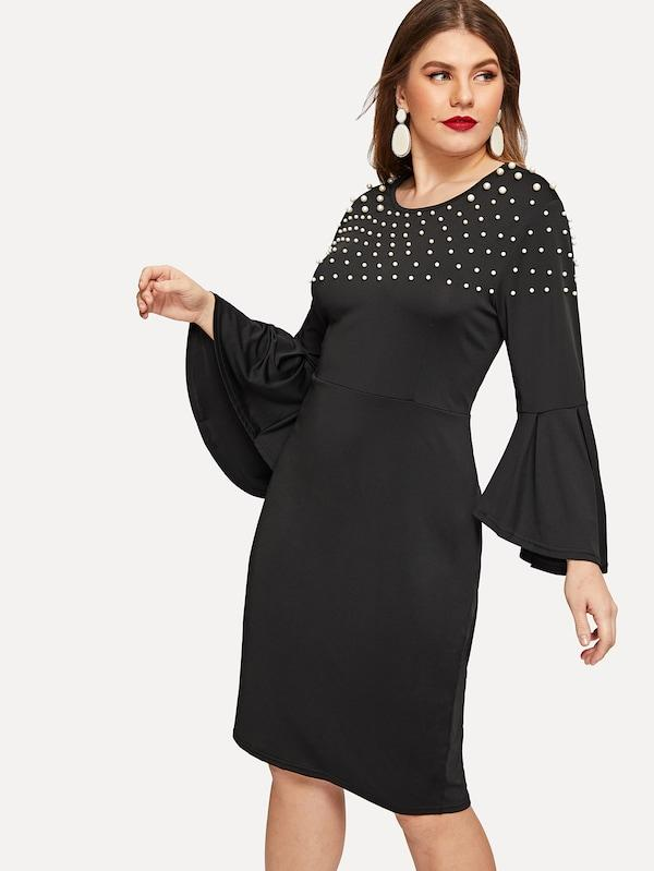 Plus Size Beaded Flounce Sleeve Dress