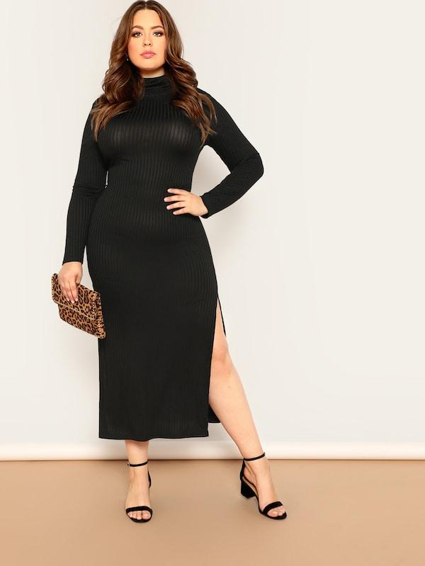 Plus Size High Neck Split Side Rib-Knit Fitted Dress