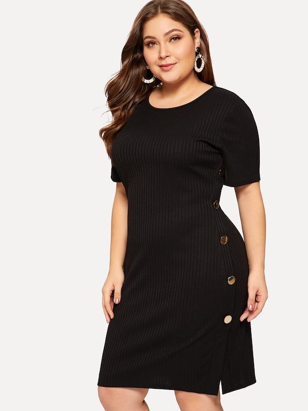 Plus Size Button Side Rib-Knit Pencil Dress