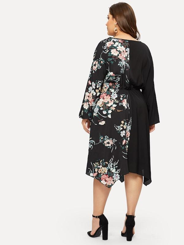 Plus Size Contrast Mesh Floral Print Cut And Sew Panel Dress