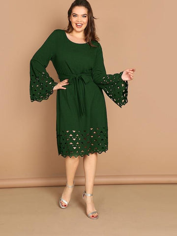 Plus Size Bell Sleeve Cut-Out Detail Belted Dress