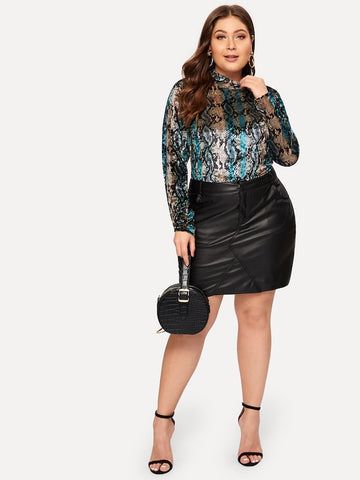 Plus Size Mock Neck Snakeskin Print Velvet Top