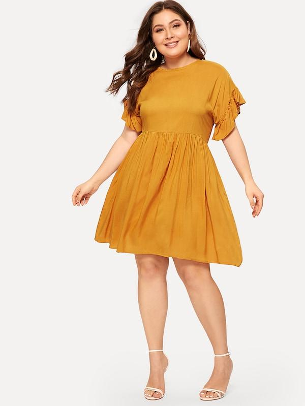 Plus Size Flounce Trim Pleated Dress