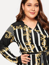 Plus Size Surplice Neck Ornate And Striped Knot Dress