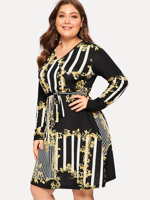 Plus Surplice Neck Ornate And Striped Knot Dress