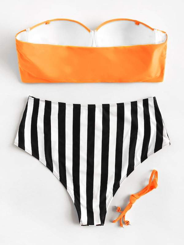 Plus Size Seam Bandeau With Striped High Waist Bikini