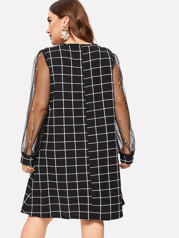 Plus Size Pearl Embellished Mesh Sleeve Grid Dress