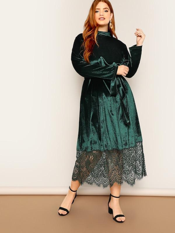 Plus Size Mock Neck Lace Hem Velvet Dress With Belt