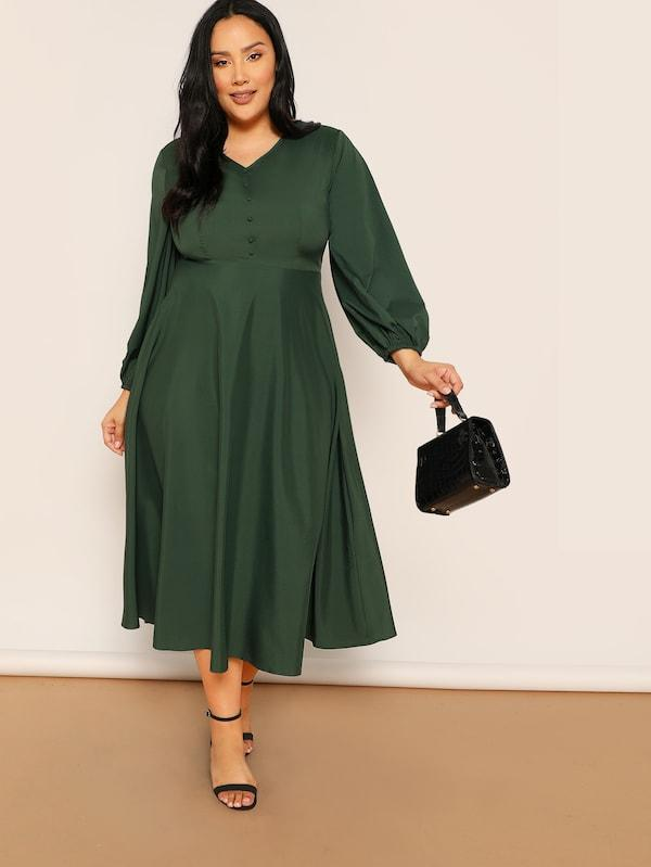 Plus Size V-Neck Button Elastic Cuff Dress