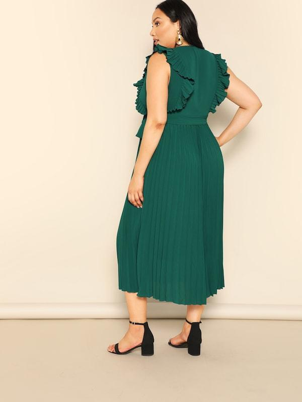 Plus Size Ruffle Armhole Belted Pleated Dress