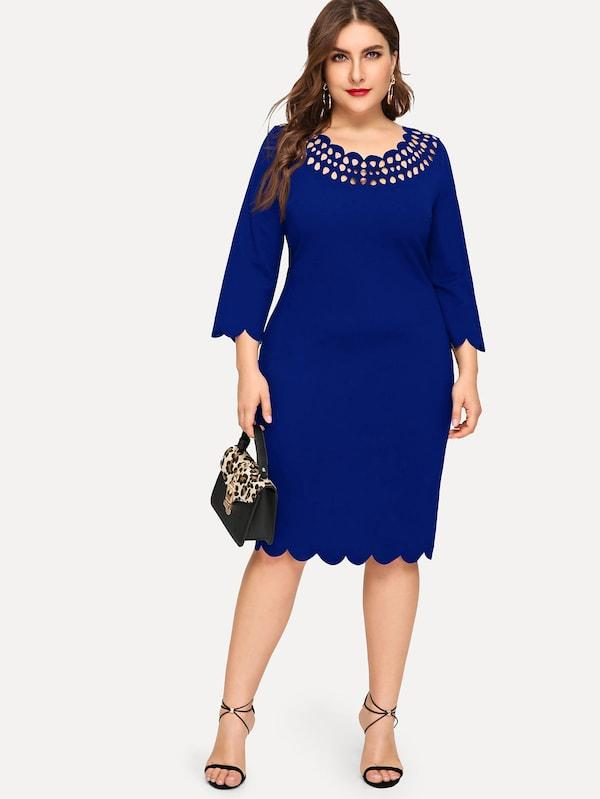 Plus Scallop Hem Laser Cut Pencil Dress
