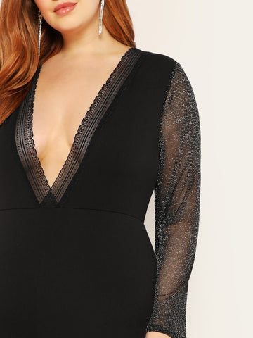 Plus Size Deep V Neck Lace Trim Glitter Jumpsuit