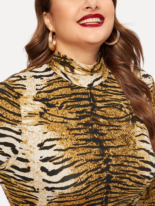 Plus Size High Neck Tiger Print Form Fitted Top
