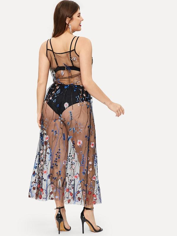 Plus Size Floral Embroidered Mesh Sheer Cami Dress