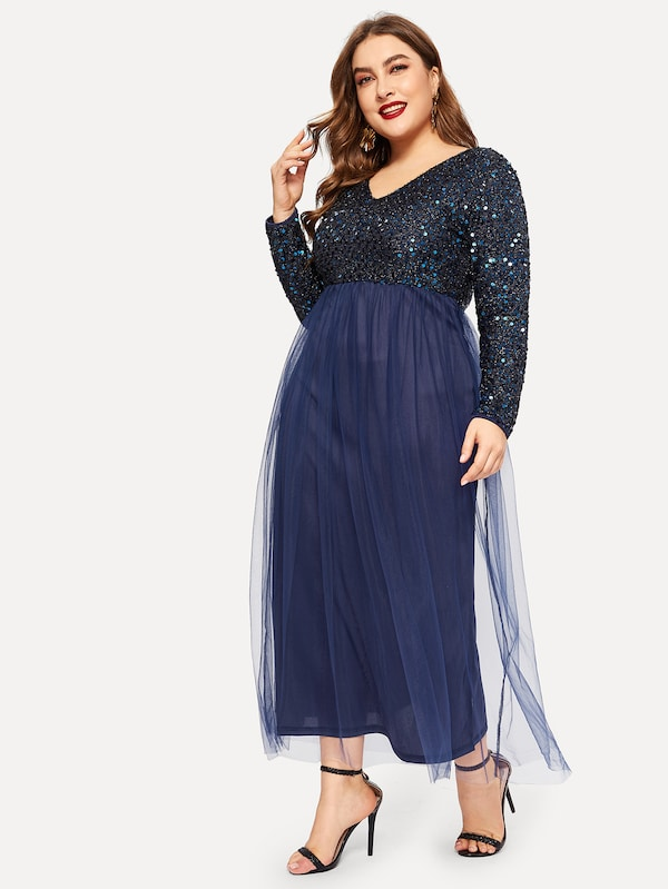 Plus Size V-Neck Contrast Sequin Mesh Dress