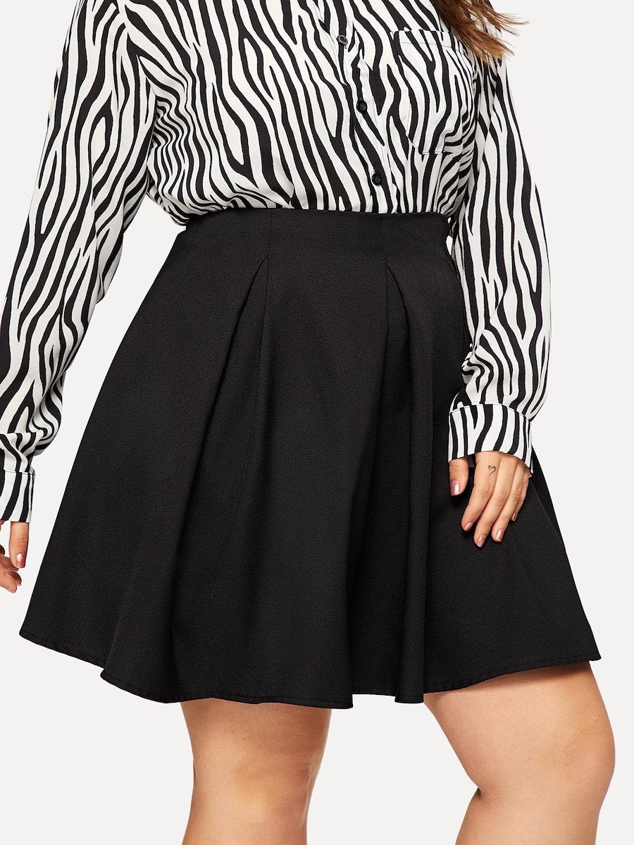Plus Size Zip Back Solid Skirt