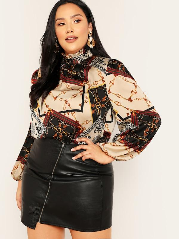 Plus Size Frilled Neck Lantern Sleeve Scarf Print Blouse