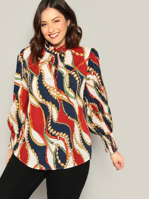 Plus Size Frilled Neckline Chain Print Top