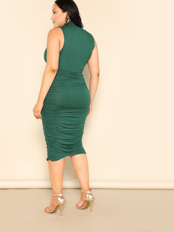 Plus Size High Neck Glamorous Midi Bodysuit
