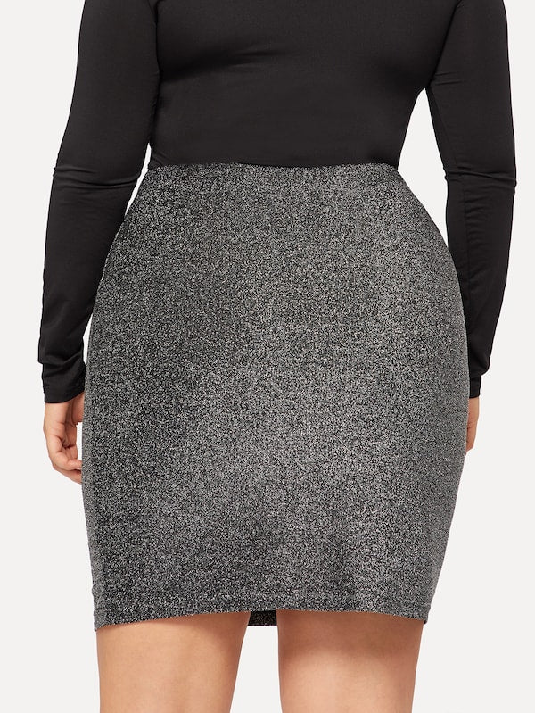 Plus Size Elastic Waist Glitter Bodycon Skirt