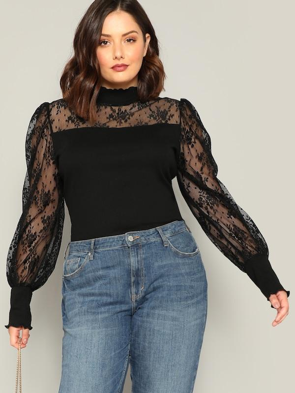 Plus Size Frill Mock Neck Lace Sheer Sleeve Top