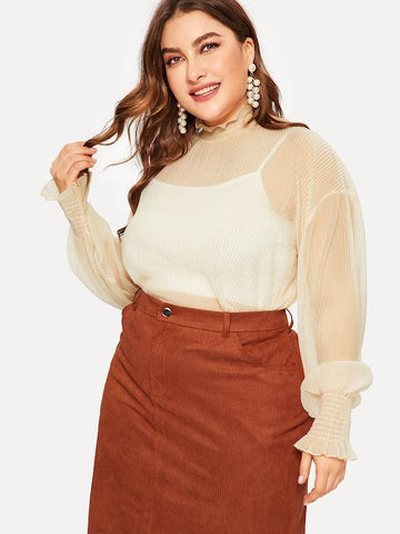 Plus Size Mock Collar Sheer Blouse Without Cami Top
