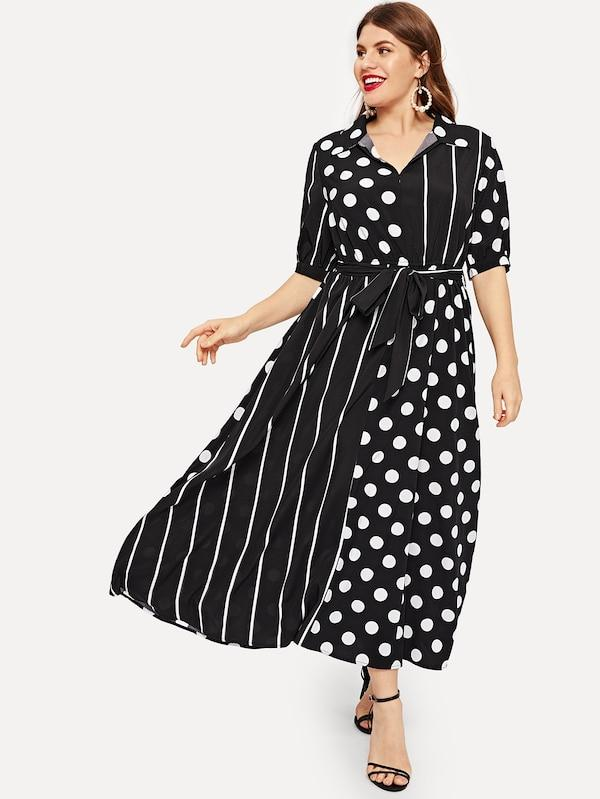 Plus Size Polka Dot Striped Panel Shirt Dress