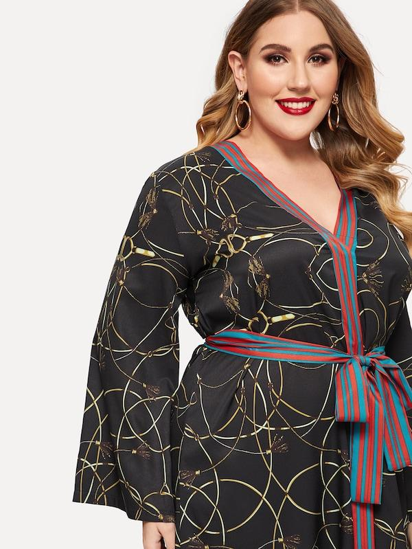 Plus Size Chain Print Contrast Striped Belted Dress