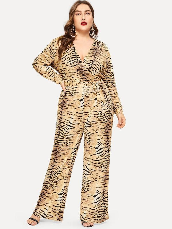 Plus Size Tiger Print Self-Tie Jumpsuit