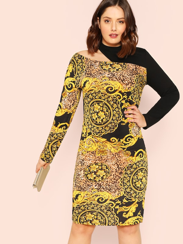 Plus Size Asymmetrical Neck Scarf Print Dress