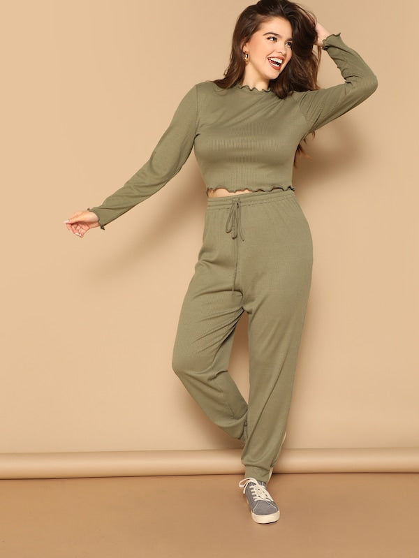 Plus Size Lettuce Trim Rib-Knit Tee & Pants Set