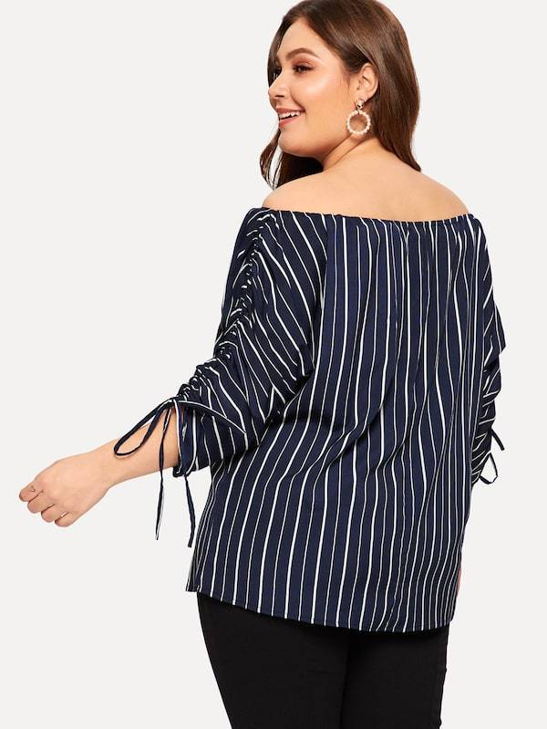 Plus Size Striped Drawstring Sleeve Off The Shoulder Blouse