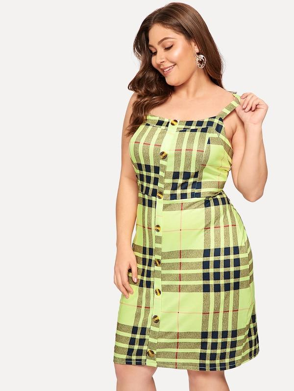 Plus Size Button Front Plaid Cami Dress