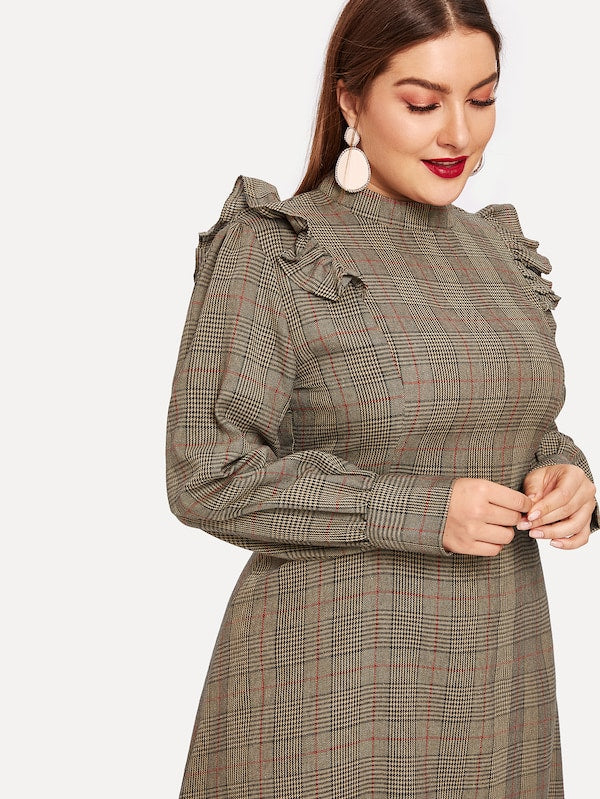 Plus Size Tartan Plaid Ruffle Trim Dress