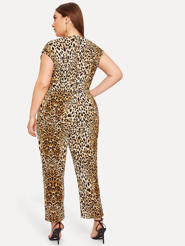 Plus Leopard Drawstring Waist Jumpsuit