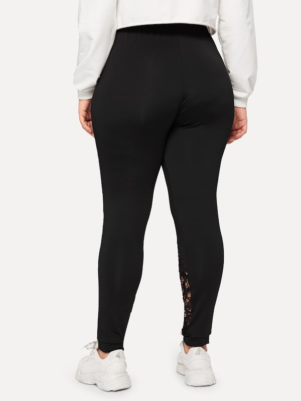 Plus Size Contrast Lace Solid Leggings