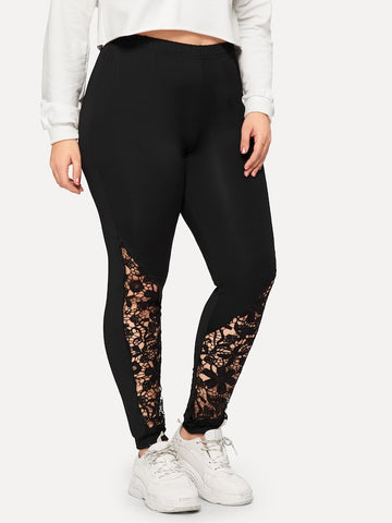 c77acf73b4b Plus Size Contrast Lace Solid Leggings ...