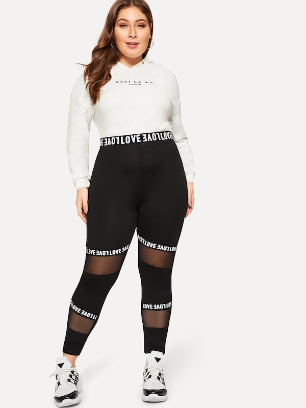 Plus Size Mesh Panel Letter Print Leggings
