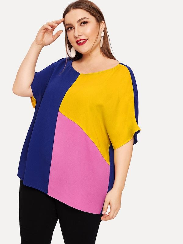 Plus Size Drop Shoulder Color Block Top