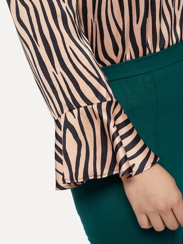 Plus Size Off Shoulder Flounce Sleeve Zebra Top