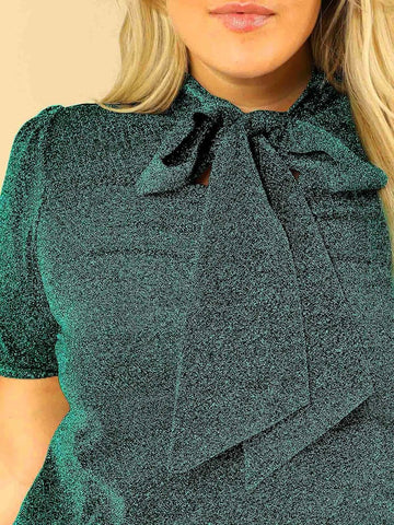 Plus Size Tie Neck Puff Sleeve Glitter Blouse