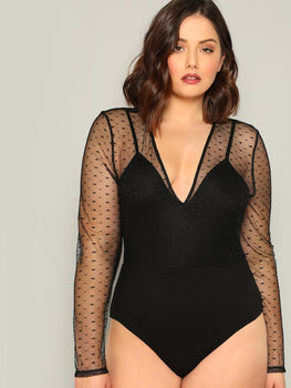 Plus Size Eyelash Lace Trim Mesh Bodysuit Without Bra.  39.99 · Plus Size  Contrast Dot Mesh Plunging Bodysuit 8547a847a