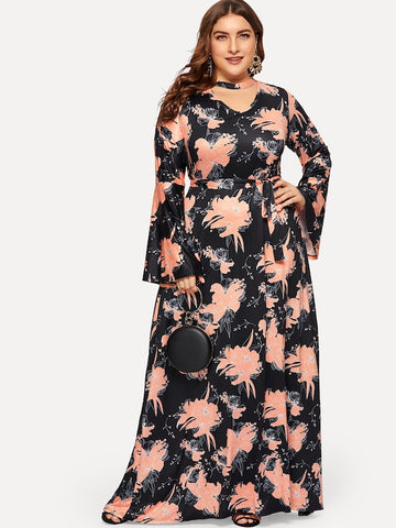 Plus Size Floral Print Choker Neck Self-Tie Dress