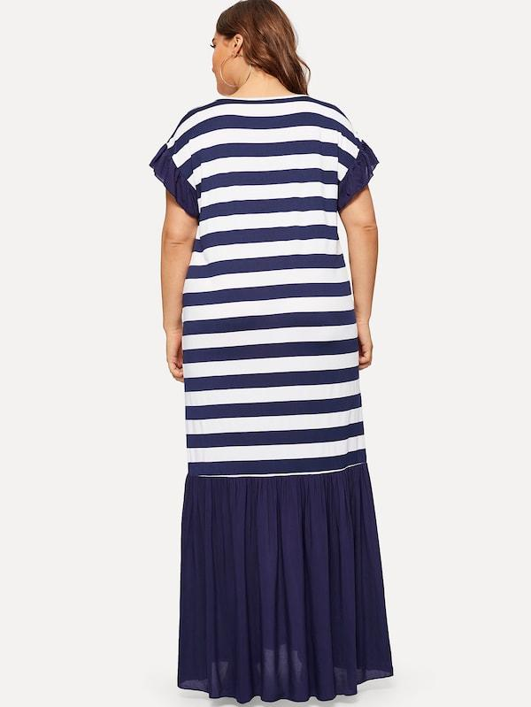 Plus Size Striped Ruffle Hem Longline Dress