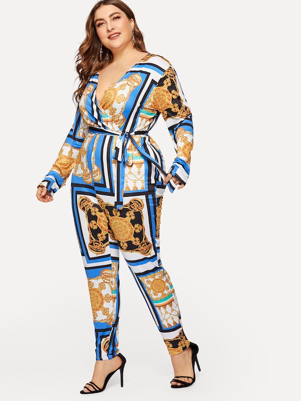 Plus Size Chain Print Surplice Front Self-Tie Jumpsuit